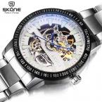 SKONE  Марка автоматический self-ветер полный стали мужские часы Высокое качество Tourbillon Мода Повседневная часы Мужчины Montres Hommes