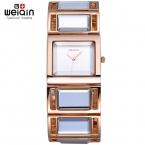Weiqin зеркало группа розового золота часы женщины аналоговый кварц - часы мода часы  montre браслет роковой relogio feminino
