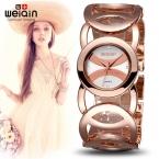 WEIQIN Марка Магия Роскошные Розовое Золото смотреть Полный нержавеющей стали женщины Моды OL Леди Коммерческий Часы Relógio Feminino