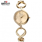 WEIQIN Марка Новая Мода Дамы Роскошные Золотые Кварцевые Наручные Часы Женщины Известная Марка Горный Хрусталь Часы Relojes Mujer Montre Femme
