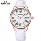 Weiqin увеличительное стекло встречи мода часы женщины роуз чехол кожаный ремешок часы дамы индекс рома reloje mujer relogios