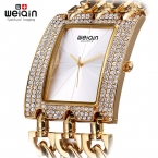 Weiqin женщина горный хрусталь площади набора часы женщин дамы цепи браслет наручные часы женский браслет часы relogios feminino