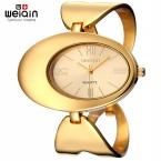WEIQIN Бренд Китай Золотой Тон Часы Женщины Водонепроницаемый Рим Кварцевые Большой Лицо Браслет Часы Мода Дамы Наручные Часы relojes Relógio