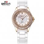 WEIQIN Марка Белые Керамические Группа Смотреть Женщины Rhinestone Розового Золота Наручные Часы Женские Кварцевые Женские Часы Шок Водонепроницаемость
