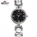 Weiqin женщина мода часы рим стиль роуз белый горный хрусталь круглый циферблат женщины кварцевые наручные часы часы Relogio Feminino