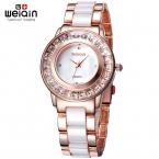 WEIQIN Горный Хрусталь Розового Золота Наручные Часы Женщины Роскошные Лучший Бренд Моды Женские Часы  Аналоговый Кварцевые Часы Relogios Feminino