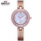 Weiqin бирка красочной оболочки набора кристалл горный хрусталь женской платье часы люксовый бренд мода роуз часы Relogio Feminino