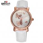Бабочка Новая Мода Дамы Кожа Кристалл Алмаза Rhinestone Часы Женщины Красоты Платье Кварцевые Наручные Часы Часы Reloj Mujer