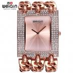 Weiqin дамы браслет часов для женщин горный хрусталь площади набора браслет часы женские наручные часы reloj relogios femininos