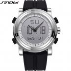 SINOBI Аналоговый Цифровой Спортивные Часы Для Мужчин Силиконовые Мужские Двойной Часовой пояс Часы Световой Мужской Наручные Часы Relojes Hombre