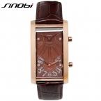 SINOBI роскошный двойной Движение горный хрусталь любителей смотреть натуральная кожа часы для мужчин Dual Time Кварц-часы мужские часы