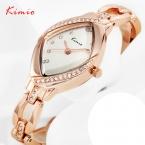 KIMIO женская Роскошный Горный Хрусталь Часы Из Розового Золота Стальной Браслет Часы для Леди