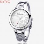 Лидер продаж бренд Kimio часы-браслет серебристый цветок лицо с горный хрусталь кварц полный стали часы для леди часов часы