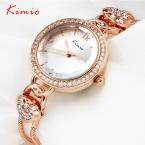 KIMIO Бренд женщин Роскошные Хрустальные Часы Из Нержавеющей Стали В Форме Сердца Цепь Мода Повседневная Часы Леди  На День Рождения