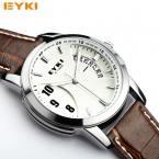 Relogio masculino оригинальный EYKI  Бренд Мужчины Смотреть Кожа Кварцевые Часы Мужчины Военные Часы Мужской Часы Человек Случайный Часы