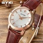 Оригинал EYKI женская Ретро Часы Тенденции Моды Корейских Кожаный Ремешок Простые Женские Кварцевые часы