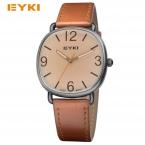 eyki женская старинные часы эксклюзивная модная марка площади набора кожаный ремешок повседневная кварцевые наручные часы