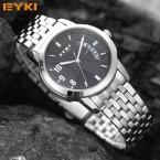 Оригинал eyki модного бренда мужская полный сталь ремешок творческий бизнес водонепроницаемый кварцевые наручные часы для мужчин часы подарки