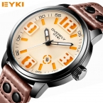 ПРОЛЕТ EYKI мужская Дизайнерские Часы Качества Водонепроницаемый Кожаный Ремень  Новая Мода Кварц Мужчины Спортивные Часы