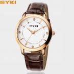 Мода Повседневная Марка EYKI 8599 мужские Часы Простой Кожаный Ремешок Кварцевые Наручные Часы