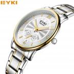 Лучший Бренд EYKI Полный Сталь Моды Случайные мужская кварцевые Часы Reloj Малый Циферблат Часы Работы Деловой Человек Платье наручные часы