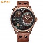 EYKI супер большой Многослойные стереоскопического набором два часовых поясов Дисплей модные спортивные часы Мужчины Водонепроницаемый световой Элитный бренд часы