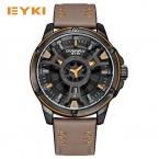 EYKI Прохладный Двойные трехмерная циферблат спортивные часы для мужчин кожаный ремешок Водонепроницаемый человек смотреть  Военная Кварц Мужские часы