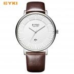 EYKI Винтаж простые мужские часы Уникальный Дата вогнутой масштаб кожаный Водонепроницаемый мужские часы Элитный бренд кварцевые наручные часы для мужчин