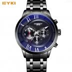 EYKI большой циферблат три глаза Дизайн Скелет световой указатель синий свет стекло стали Кварцевые часы Мужчины Элитный Бренд Дата Неделя часы