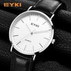 EYKI 6 мм ультра тонкий мужские часы  Элитный бренд Простой Натуральная кожа противоударный Водонепроницаемый золотые часы человек подарки дропшиппинг