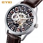 EYKI стимпанк Скелет Автоматическая автоподзаводом механические часы натуральная кожа Роман Количество часы мужские Элитный бренд наручные часы