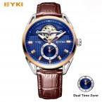 EYKI бизнес автоматические часы Dual Time Zone Скелет механические часы Мужчины Натуральная кожа ремень световой известный бренд часы человек