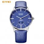 EYKI простой лучших тонкий циферблат небольшой независимой секунд световой кожаный ремешок из телячьей кожи мужские часы лучший бренд класса люкс мужские часы