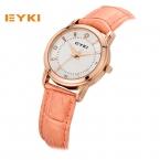 EYKI Красочные кожаный ремешок розового золота часы женские со стразами Весы-часы модные женские часы  кварцевые наручные часы для женщин