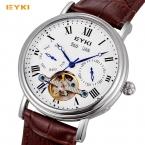 EYKI автоматический self-ветер механические мужские часы два суб Циферблат Кожаный Водонепроницаемый Дата месяц год неделю Элитный бренд Мужская часы