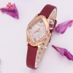 Топ леди женские часы кварца япония элегантный горный хрусталь мода часы платье кожаный браслет девушка подарок на день рождения julius box