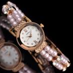 Топ Julius Леди женщин Наручные часы Упругие Pearl Мода Часы Платье Браслет Бизнес Девушка Мило День Рождения Валентина