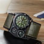 OULM спортивные наручные часы Мужские кварцевые военные часы Широкий ремень из искусственной кожи компас термометр украшения уникальный мужской наручные часы