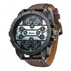 OULM Брендовые спортивные мужчины большие часы кожаный ремешок четыре часовых поясов кварцевые часы большие мужской военной часы Reloj Hombre
