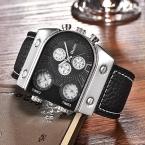 Oulm спортивные мужчины часы три часовой пояс большой кварцевые часы мужской бренд роскошные кожаные военные часы наручные часы relojes hombre