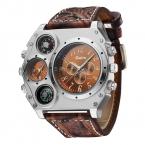 OULM 1349 Мода Дизайн компас смотреть мужчин широкий кожаный ремень Dual Time большой лицо кварцевые часы Relogio masculino Grande Montre