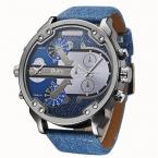 Роскошные модные мужские военные армейские Dual Time кварцевые Большой циферблат наручные часы OULM часы мужские кожаные Лидер продаж Relogio Masculino