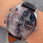 новинка Топ Марка OULM 9316 Мужская тегов часы Высокое качество кожаный ремешок большой лицо 2 ATM Японии Movt кварцевые импортные часов