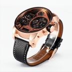5.5 см негабаритных циферблат OULM 9316B новый дизайн бренда Японии Movt модные часы мужские ЖК-дисплей Дисплей 3 Время повседневные кожаные часы Montre