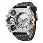 Топ Марка OULM 1349 модные уличные мужские часы 5 см большой Face 2 Часовой пояс компас термометр кварцевые часы Montre Homme буссоль