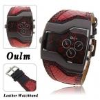 Прохладный 5.2 см большой циферблат OULM 1220 оригинальный Фирменная Новинка модные дизайнерские DZ кварцевые часы мужские широкий кожаный ремешок Повседневная Кварцевые часы