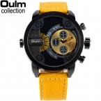 5 см негабаритных циферблат для большой запястье Дизайн Марка OULM 3130 мужские кожаные часы Montre Homme MARQUE мужской Relogio Masculino оригинальный