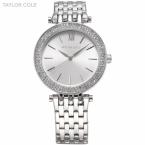 Тейлор коул бренда женщины одеваются часы Relogio Feminino серебро горный хрусталь из нержавеющей стали ремешок леди мода кварцевые часы / TC003