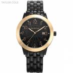 тейлор коул люксового бренда женщины одеваются черный Relogio авто дата-белый циферблат браслет часы леди мода кварцевые часы / TC032