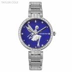 Taylor cole роскошный круглый синий серебряный кристалл леди девушка женщина для тонкий Кварцевый Стальной ленты Браслет Часы Женщины женские Часы/TC089
